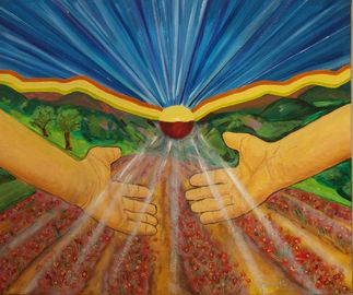 Peinture: Main en direction du soleil, au dessu d'un champ de fleur.